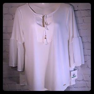 ELLEN TRACY BEAUTIFUL TOP BELL SLEEVES SIZE L NWT
